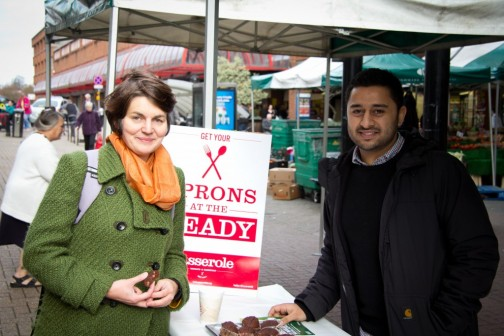 Sarah Finch and project manager Murtz on the Casserole stall in Redhill market
