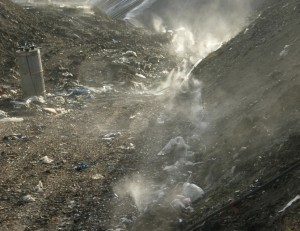 Gas escaping from Redhill landfill site (picture from Environment Agency)