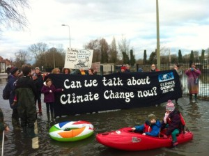 Oxford residents demonstrate in the floods